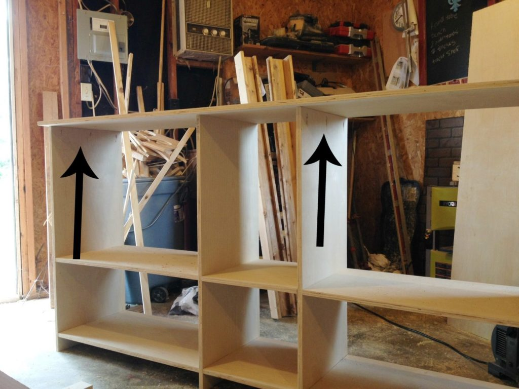 Adding top of storage cabinet console using pocket holes and screws