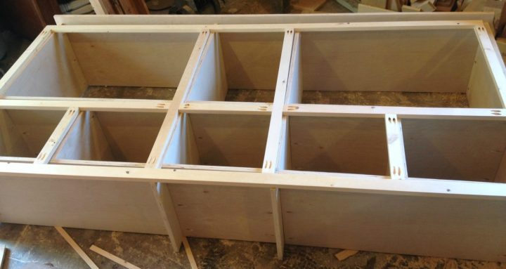 Face frame for storage cabinet assembled with pocket holes and screws