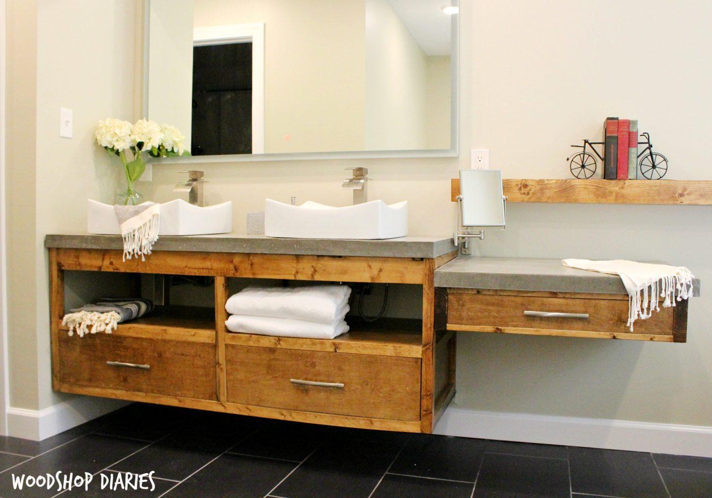 Free Building Plans To Make Your Own Modern DIY Floating Bathroom Vanity.  Plenty Of Storage Part 58