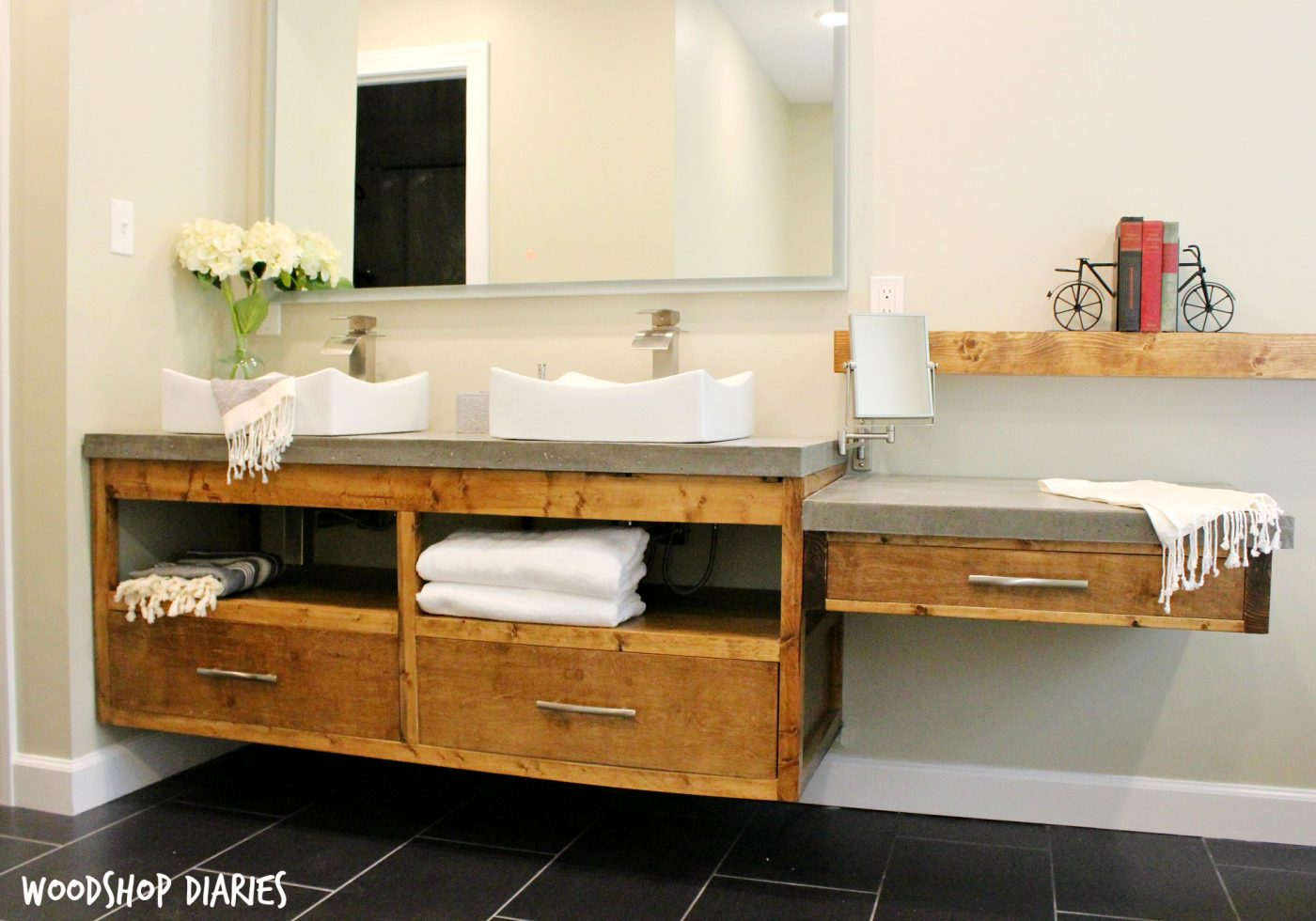 Free Building Plans To Make Your Own Modern DIY Floating Bathroom Vanity.  Plenty Of Storage
