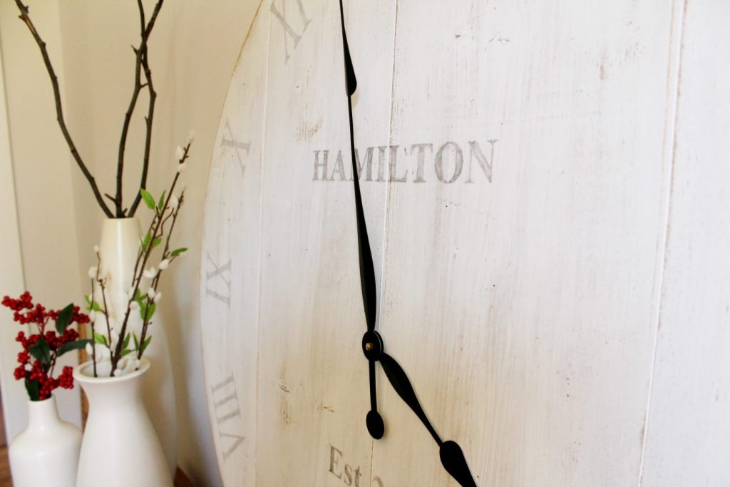 DIY Wooden wall clock with personalized last name and marriage date