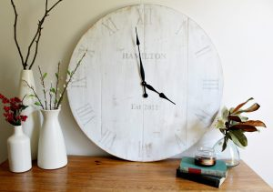 DIY Wooden wall clock with personalization--make your own with this free tutorial
