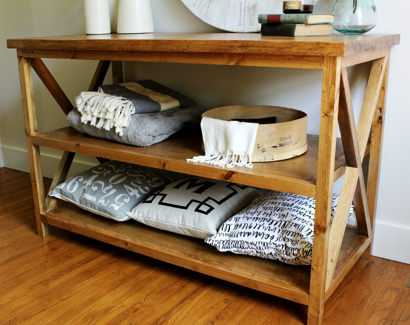 DIY X Base Console Table Stained With Minwax Early American And Finished  With Minwax Polycrylic