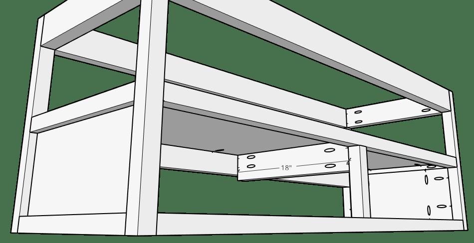 Attach drawer slide runner into floating vanity frame