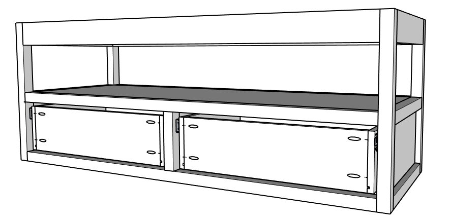 Install drawers into floating vanity frame