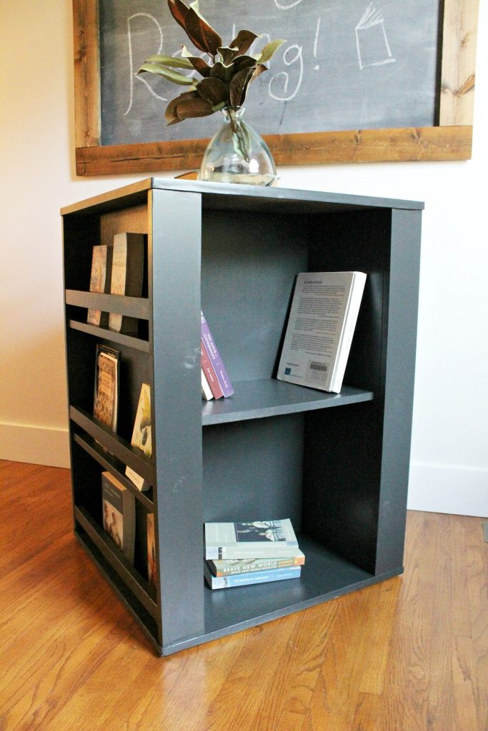 Get these free building plans for how to build this DIY Four Sided Kid's Bookshelf!
