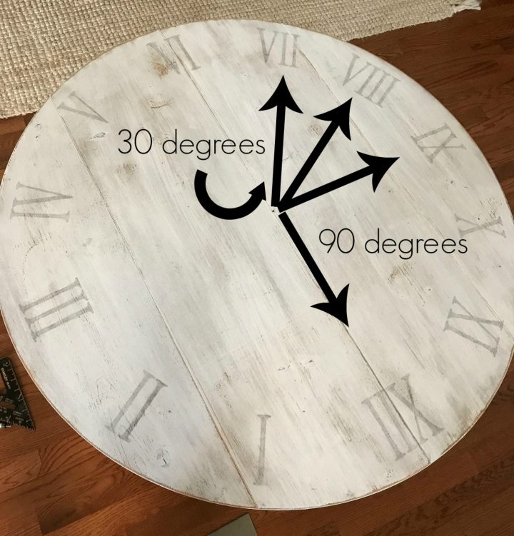 Add numbers to DIY rustic wood wall clock