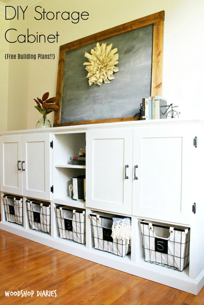 DIY Storage console with cabinets, shelving, and cubbies!