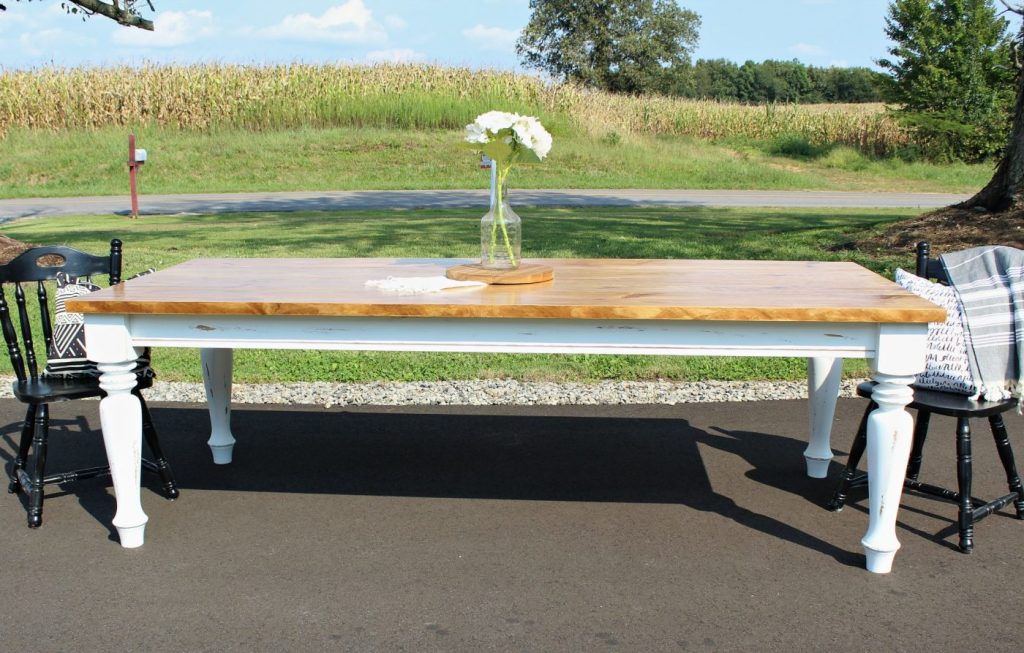 How to Build a DIY Farmhouse Dining Table with Turned distressed legs