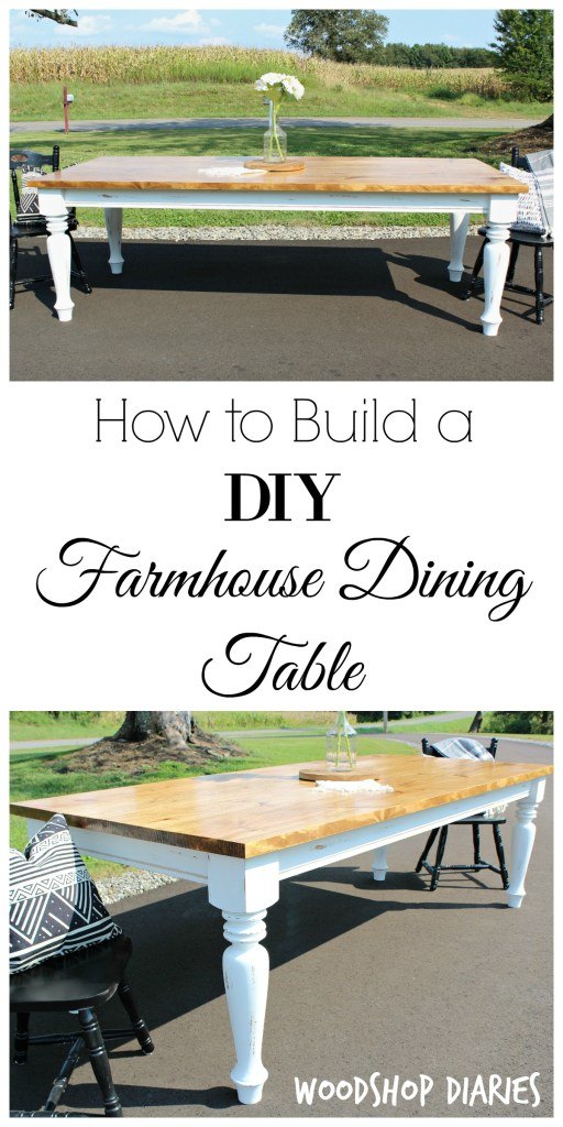 Free building plans!! How to build a DIY Farmhouse Dining Table with gorgeous distressed white turned legs and Minwax Early American Stained top
