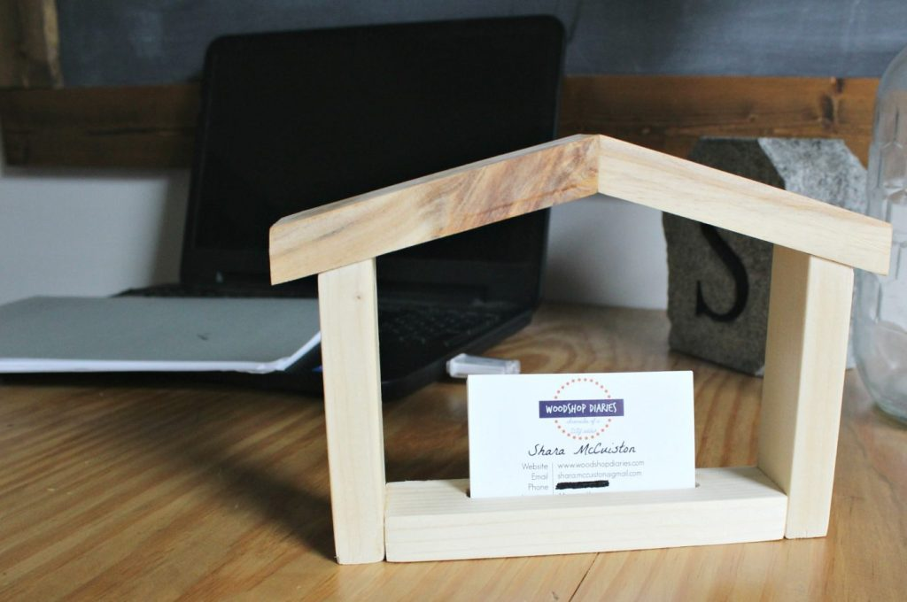 How to make a scrap wood DIY house shaped business card holder