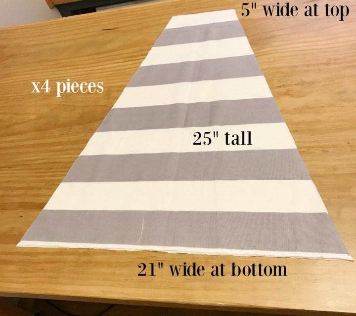 DIY Dog Tent Teepee striped fabric panels