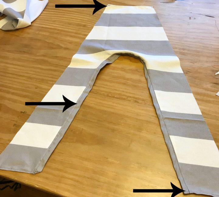 Hemmed edges of DIY dog tent teepee