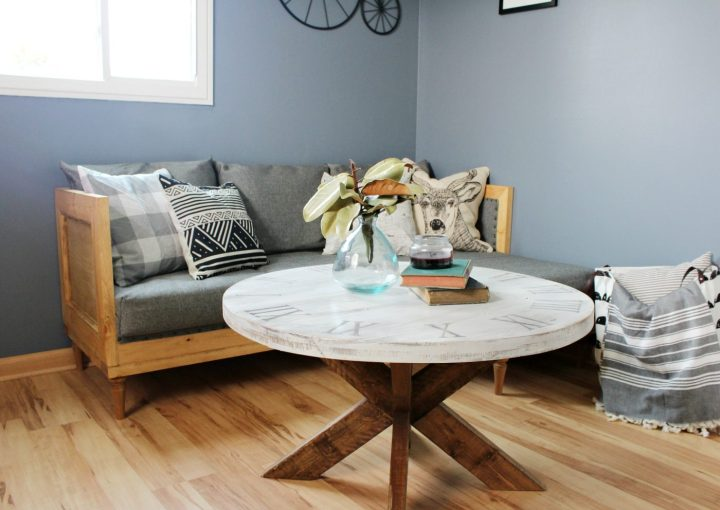 DIY Upholstered modern couch perfect for small man cave--free building plans and upholstery tutorial for this DIY couch