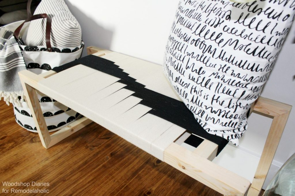 DIY Modern Woven Bench with black and white woven seat--super easy building tutorial