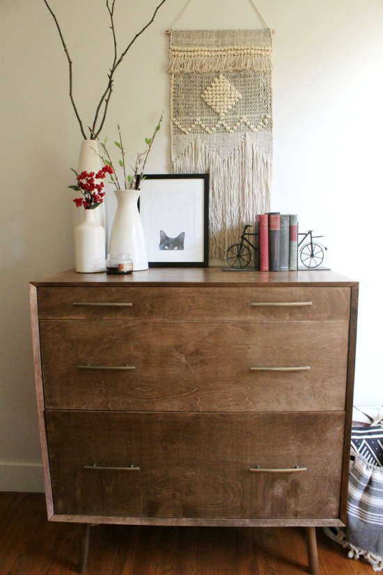 DIY Mid Century Dresser with Mitered Corners and a DIY round leg base--free building plans