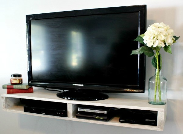 How to Build a Simple Floating TV Shelf with just enough storage!