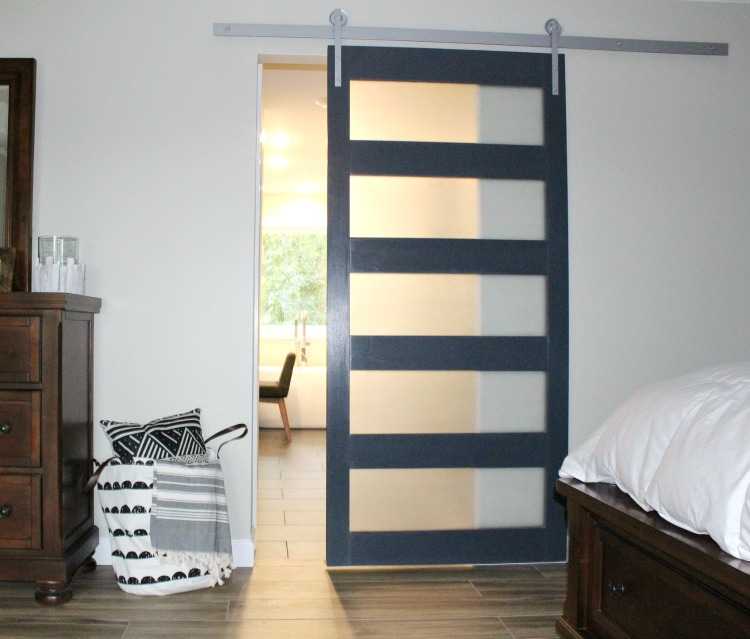 diy modern sliding door with frosted