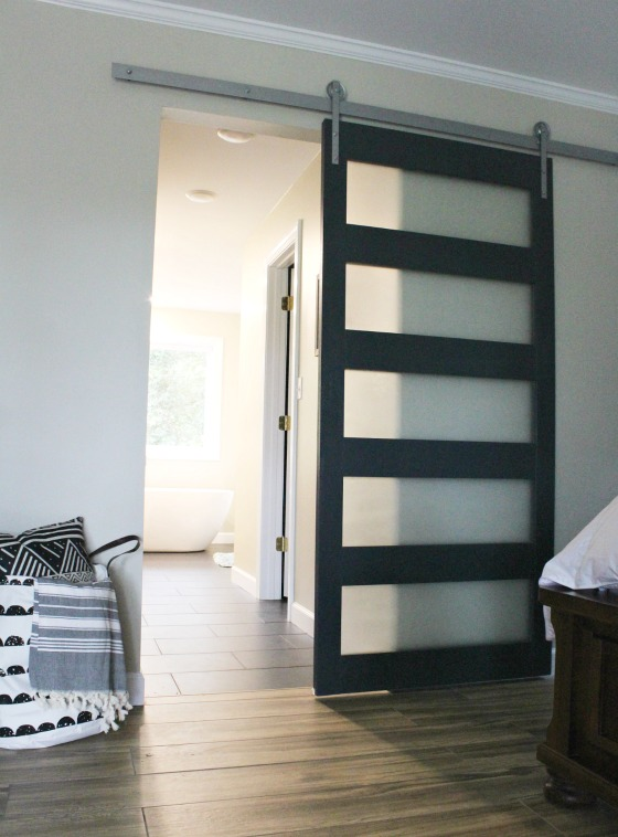 How to build your own Mid Century Style sliding door with frosted glass panes!