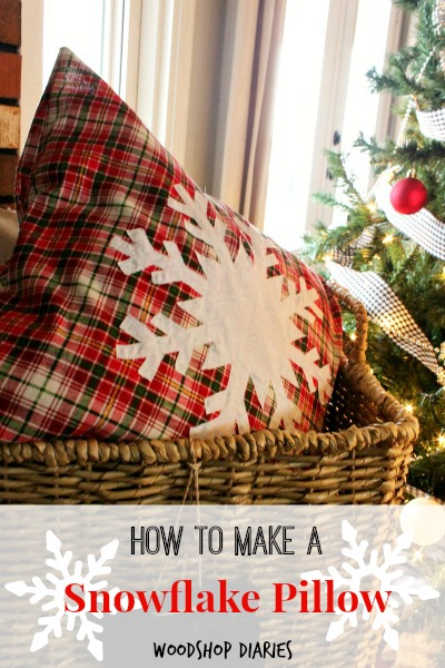 How to make a DIY Snowflake Pillow--Great DIY Christmas pillow idea that will last all winter. Great beginner sewing project too!
