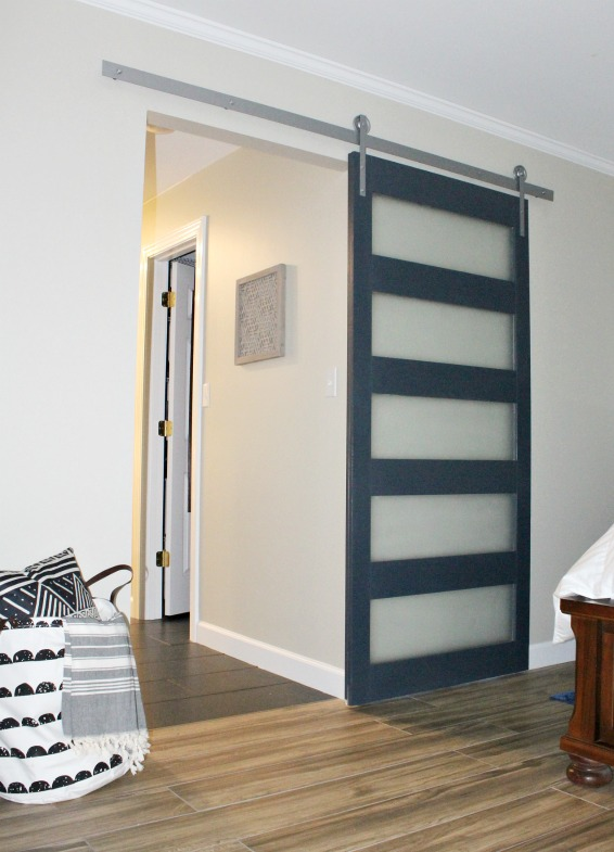 DIY Modern Sliding Door With DIY Hardware Instructions Too! Glass Panels  Make This Mid Century