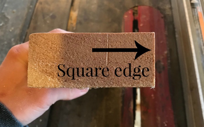 Close up of 2x4 edge just squared off
