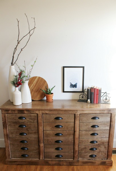 How to build a faux drawer dresser cabinet--DIY farmhouse dresser apothecary cabinet