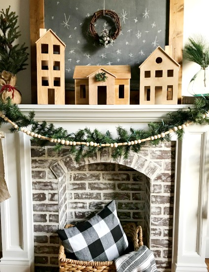 How to make a DIY wooden Christmas village perfect for Scandinavian style Christmas decor