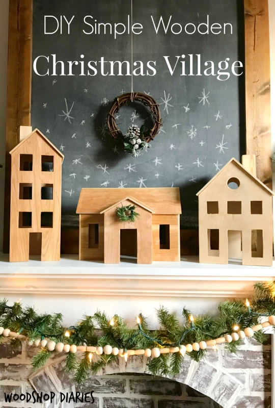 How to make your own DIY wooden Christmas village perfect for Scandinavian Christmas decor. Easy and free project tutorial