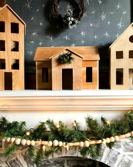 DIY Scandinavian Christmas Village--little wooden houses make such a cute Christmas village!