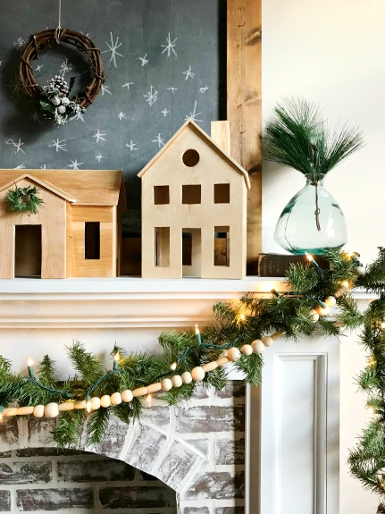 DIY Wooden Christmas village with natural wood makes the perfect Scandinavian style Christmas decor