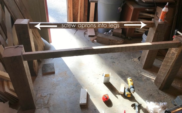 building barn wood table base