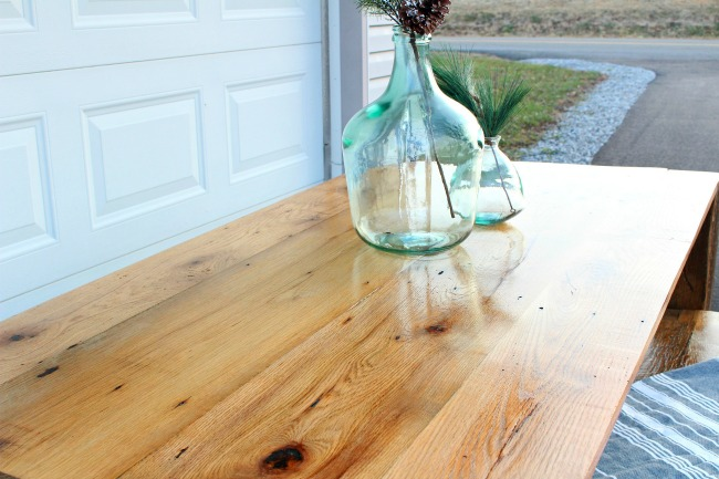 DIY reclaimed barn wood table top--reclaimed oak wood