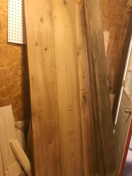 planed reclaimed lumber boards for dining table top
