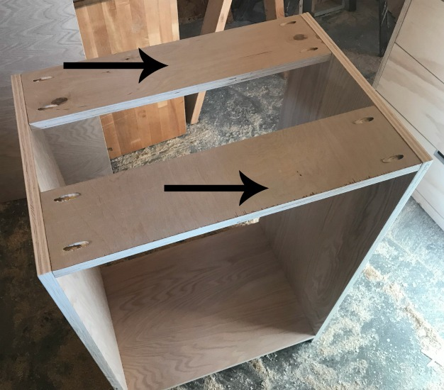 Attach top supports to DIY shelf cabinet carcass