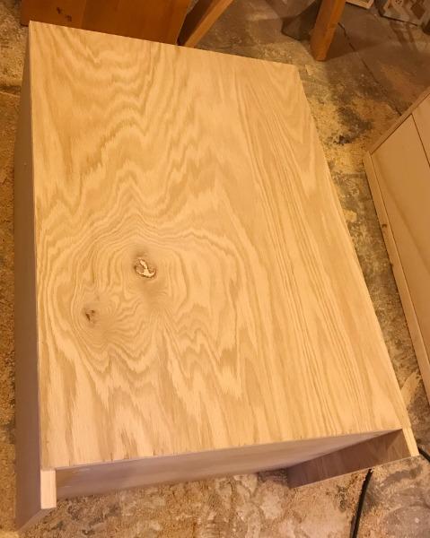 Staple back onto simple DIY shelf cabinet