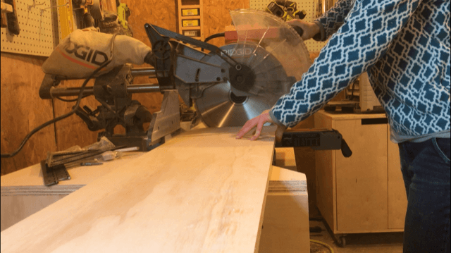 Trim plywood sides to length using miter saw
