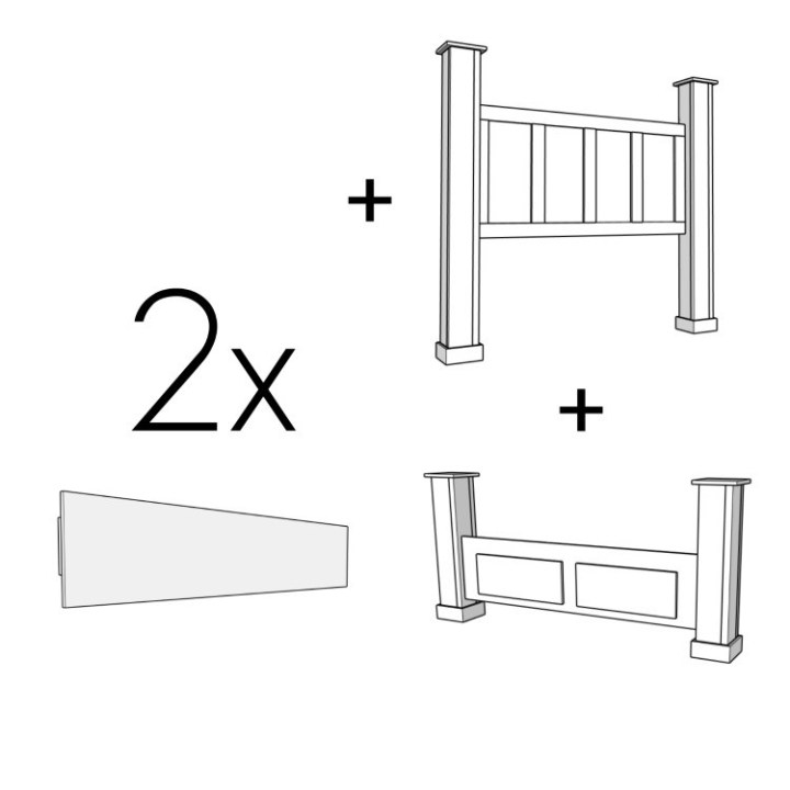 Graphic showing headboard plus 2 side boards plus one footboard makes a bed