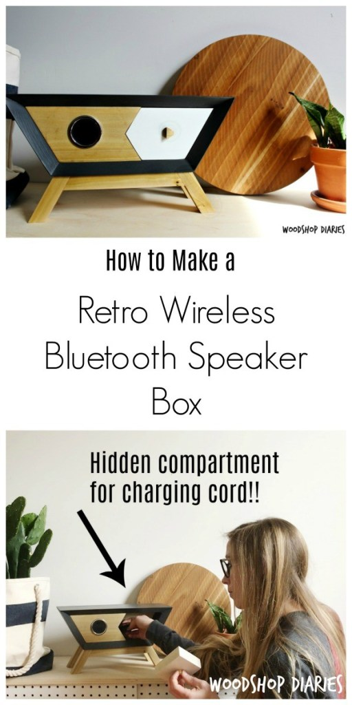How to make a retro mid century modern style DIY wireless Bluetooth speaker box with hidden compartment for storing the charging cord!