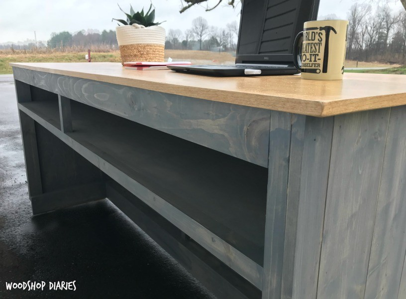 DIY Standing Desk with Wood Planked Detail and shelf