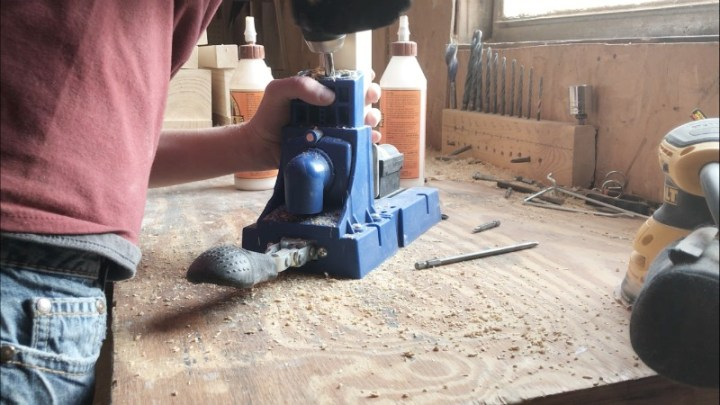 Drill pocket holes for Kid's play table base