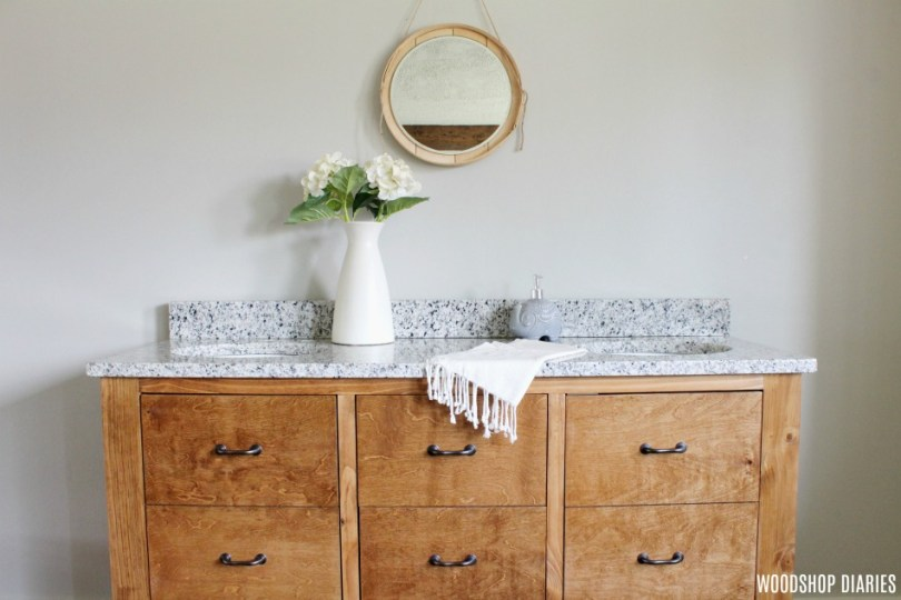 Gorgeous faux drawer bathroom vanity with granite top