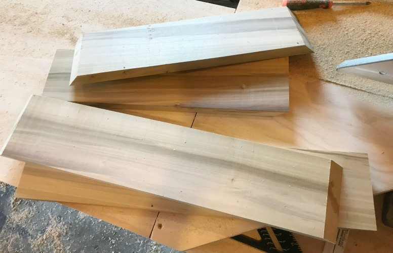 Board cut with mitered ends to make box