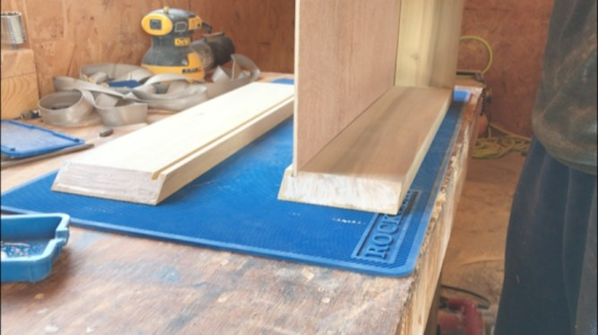 plywood bottom placed into dadoes on keepsake box