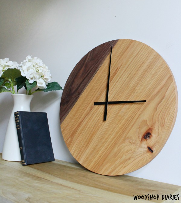Large two tone walnut and hickory wood clock