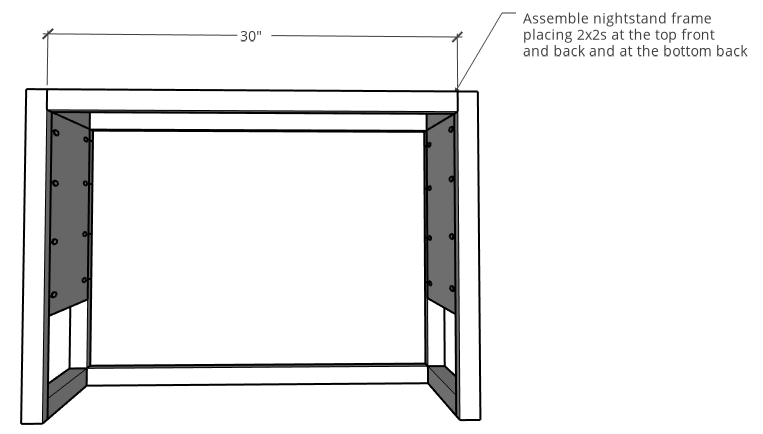 Nightstand frame assembly diagram with dimensions