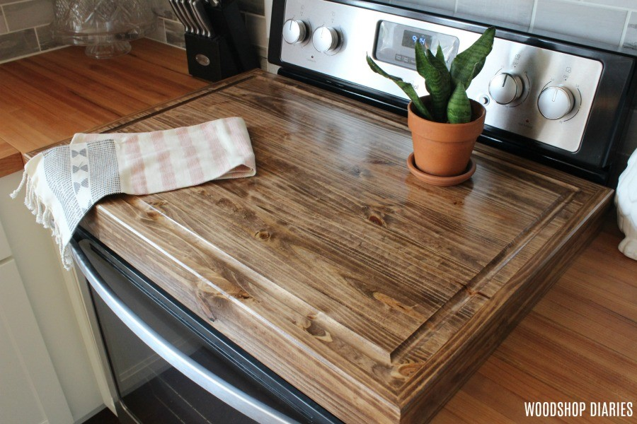 DIY Wooden Stove Top Cover on stove for added counter space in kitchen