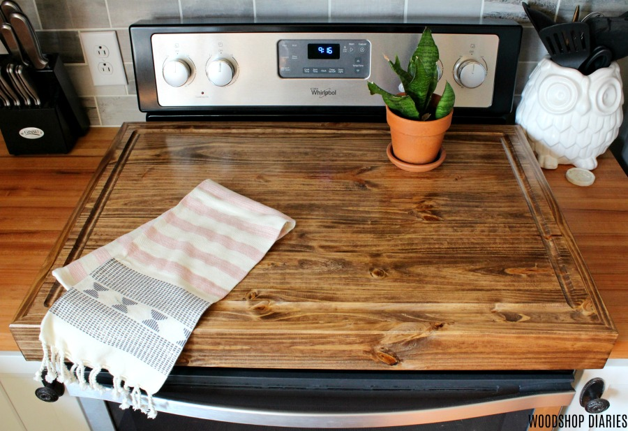 DIY Wooden stove stop cover with juice groove cut on edges