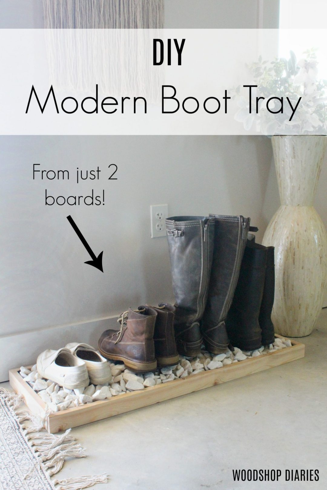 How to build a simple modern DIY boot tray with just two boards! Great beginner woodworking project