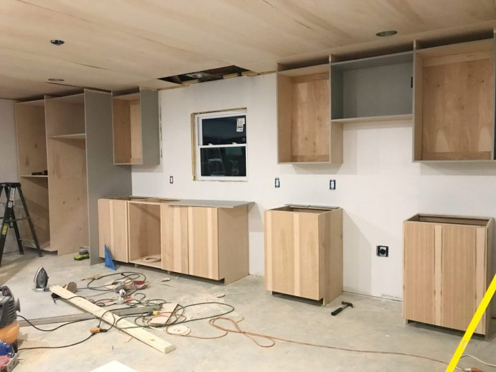All kitchen cabinets installed ready for finish